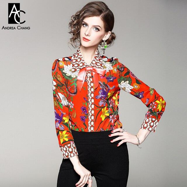 efbc16df4e7 Осень-весна женщина рубашка блузка воротник ленты лук красочные с цветочным  рисунком печати шелковая рубашка