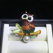 ZHBORUINI High Quality Natural Freshwater Pearl Brooch Antique Owl Gold Color Jewelry For Women Accessories