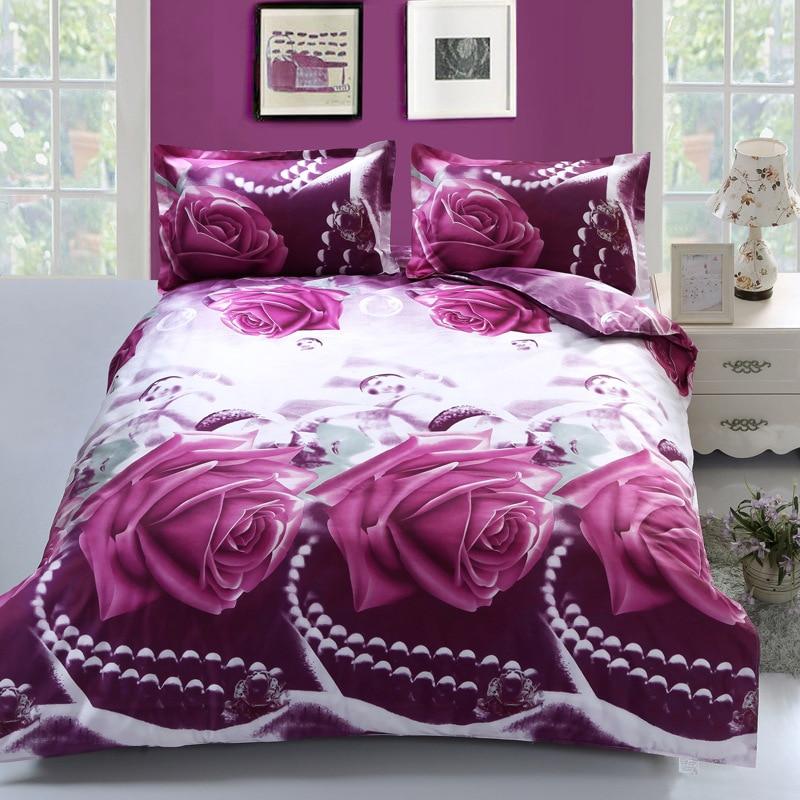 Ensemble de literie 3D Rose imprimé bleu violet Rose couvre-lit drap housse de couette queen size double linge roses grand magasin