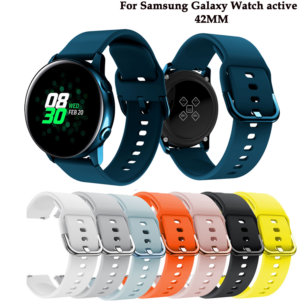 Silicone Original sport <font><b>watch</b></font> <font><b>band</b></font> For Galaxy <font><b>watch</b></font> active smart <font><b>watch</b></font> strap For Samsung Galaxy <font><b>watch</b></font> Replacement New strap <font><b>20MM</b></font> image