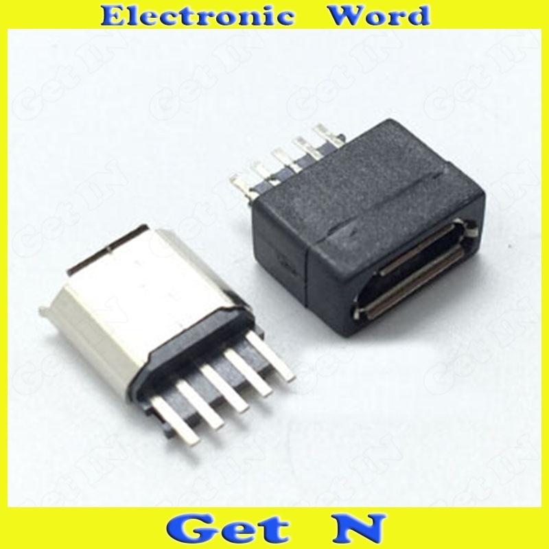 ⑥2000 unids 2 en 1 5 P interfaz micro USB hembra Jacks socket 180 ...
