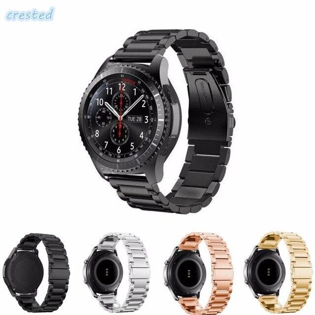 CRESTED 22mm Rvs Horloge Band voor Samsung Gear S3 Klasse/Frontier Vervanging Polsbandjes Gesp Adapter Link armband