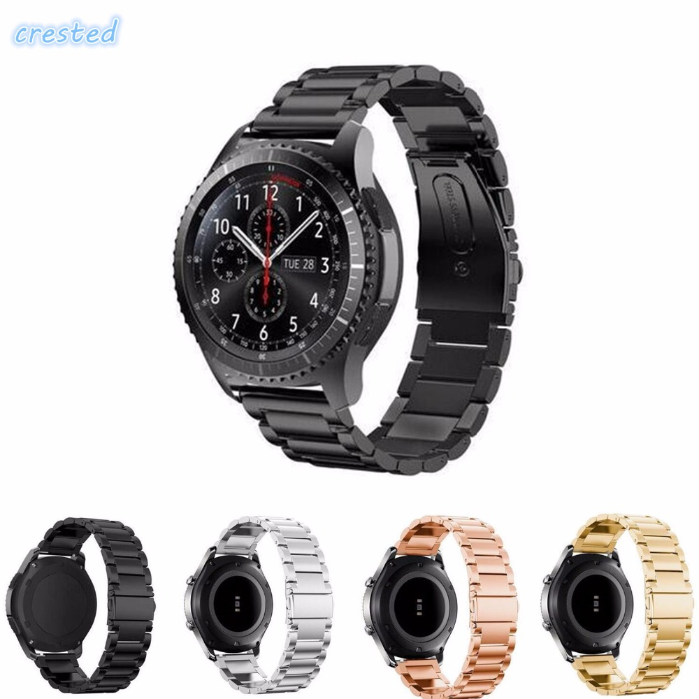 CRESTED 22mm Stainless Steel Watch Band for Samsung Gear S3 Class/Frontier Replacement Wristbands Buckle Adapter Link bracelet crested sport silicone strap for samsung gear s3 classic frontier replacement rubber band watch strap for samsung gear s3