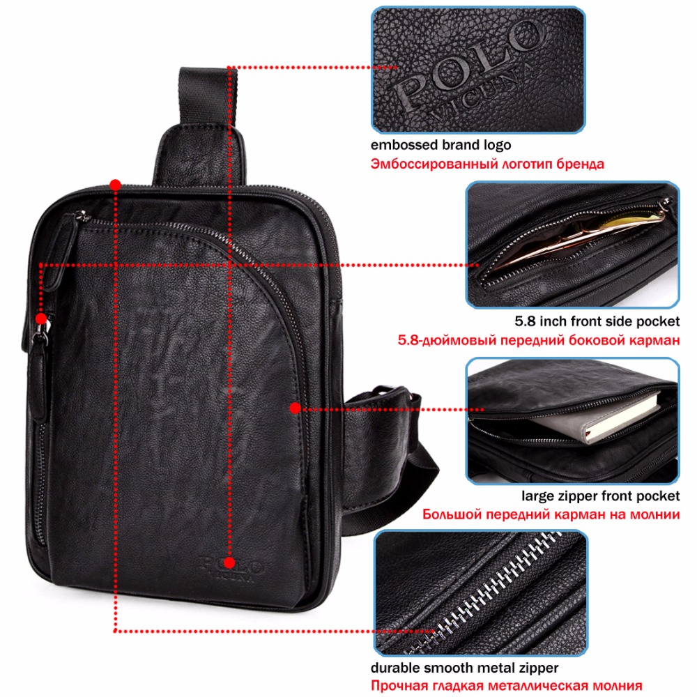 VICUNA POLO Square Design Black Mens Sling Bag For iPad Brand Mens Crossbody  Shoulder Bag Casual Messenger Bags Chest Bag-in Crossbody Bags from Luggage  ... 346b79913aead
