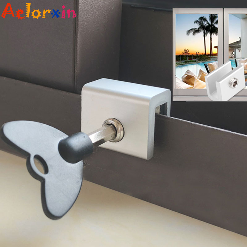 Child Protection Baby Safety Adjustable Sliding Window Locks Stop Aluminum Alloy  Security Lock With Keys Safety Window Lock