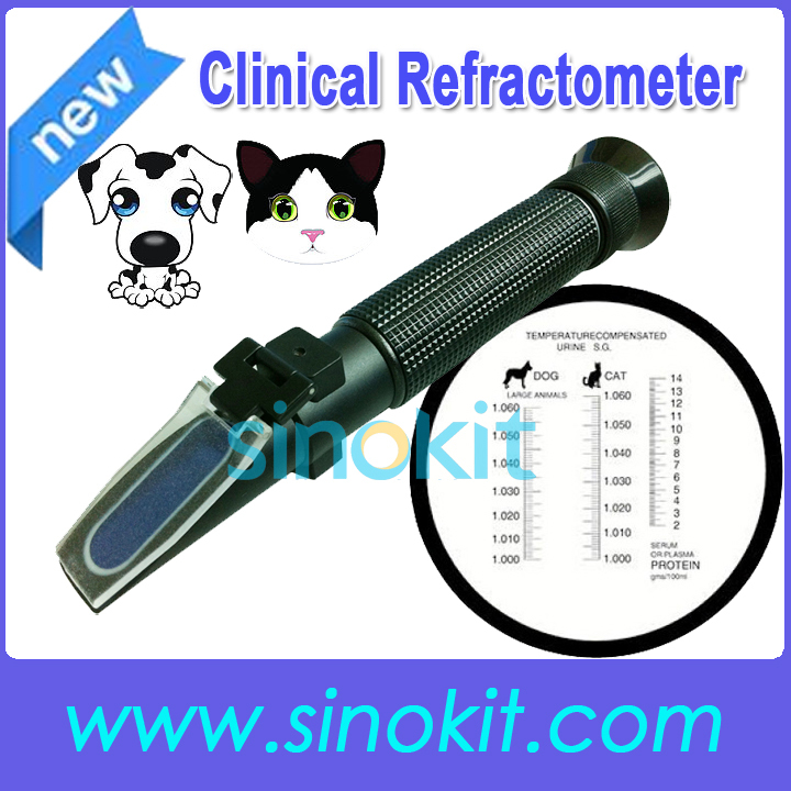 Cheap Veterinary and Human Dog Cat Clinical Plastic  Refractometer - P- RHC-300ATC portable clinic clinical pet animal dog and cat refractometer rhc 300 atc blood protein serum urine plasma