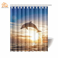 Memory Home Bathroom Decor Dolphin In The Sunset Waterproof Polyester Fabric Bathroom Animal Printing Shower Curtain
