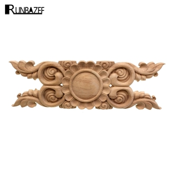RUNBAZEF Household decoration cabinet wood carved furniture coaming applique The white embryo is embossed with flowers figurine image