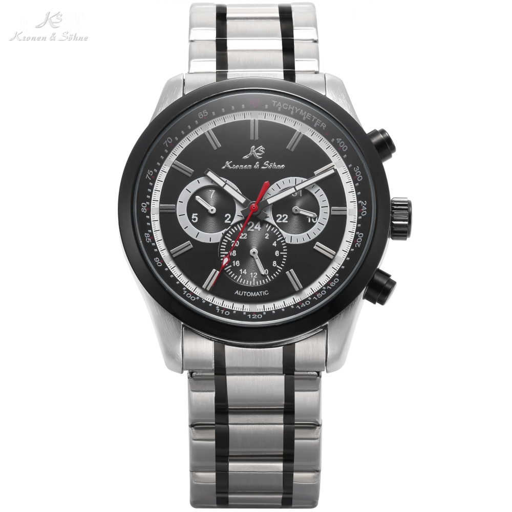 KS Luxury Automatic Self-Wind Date Day 24 Hours Black 3 Dial Steel Strap Mechanical Wrist Watches Mens Gents Timepieces / KS307 tevise men automatic self wind gola stainless steel watches luxury 12 symbolic animals dial mechanical date wristwatches9055g
