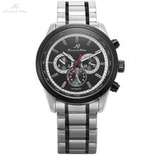 KS Lujo Mismo-Viento Automático Fecha Día 24 Horas Negro 3 Dial Correa de Acero Relojes Mecánicos Para Hombre Caballeros Relojes/KS307