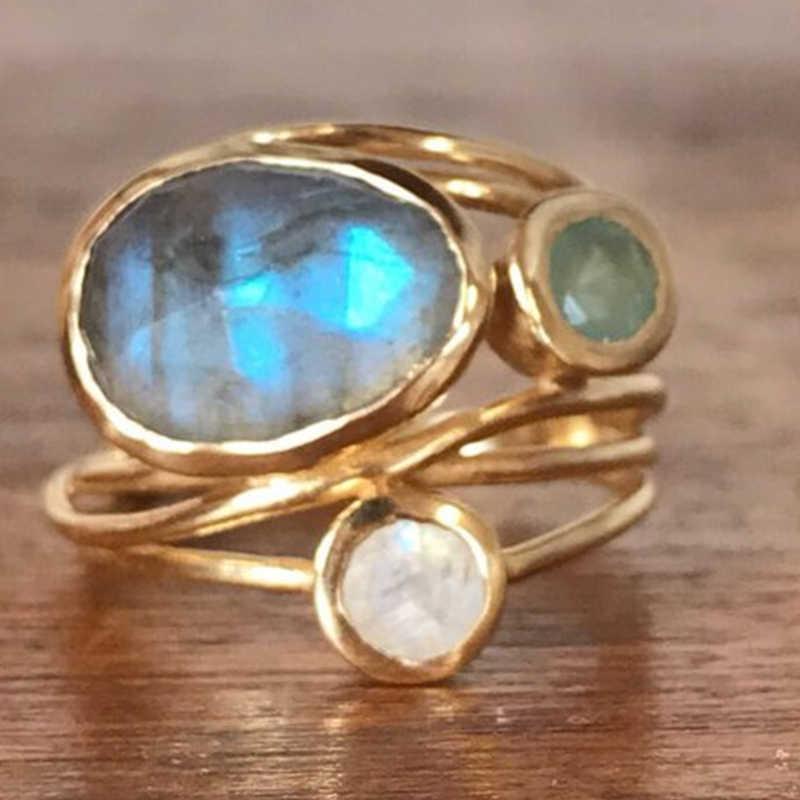 รูปไข่ 3pcs แหวนมูนสโตน Rose Gold แหวน Anillos De Bizuteria peridot D30