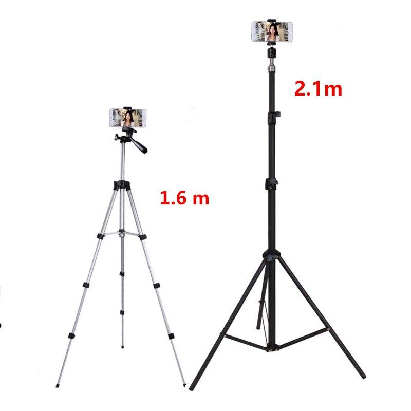 2.1 m trépied support avec support pour téléphone Mobile à distance pour iPhone X 7 6 S Plus 5 S Samsung Tiske Portable caméra de voyage support de trépied