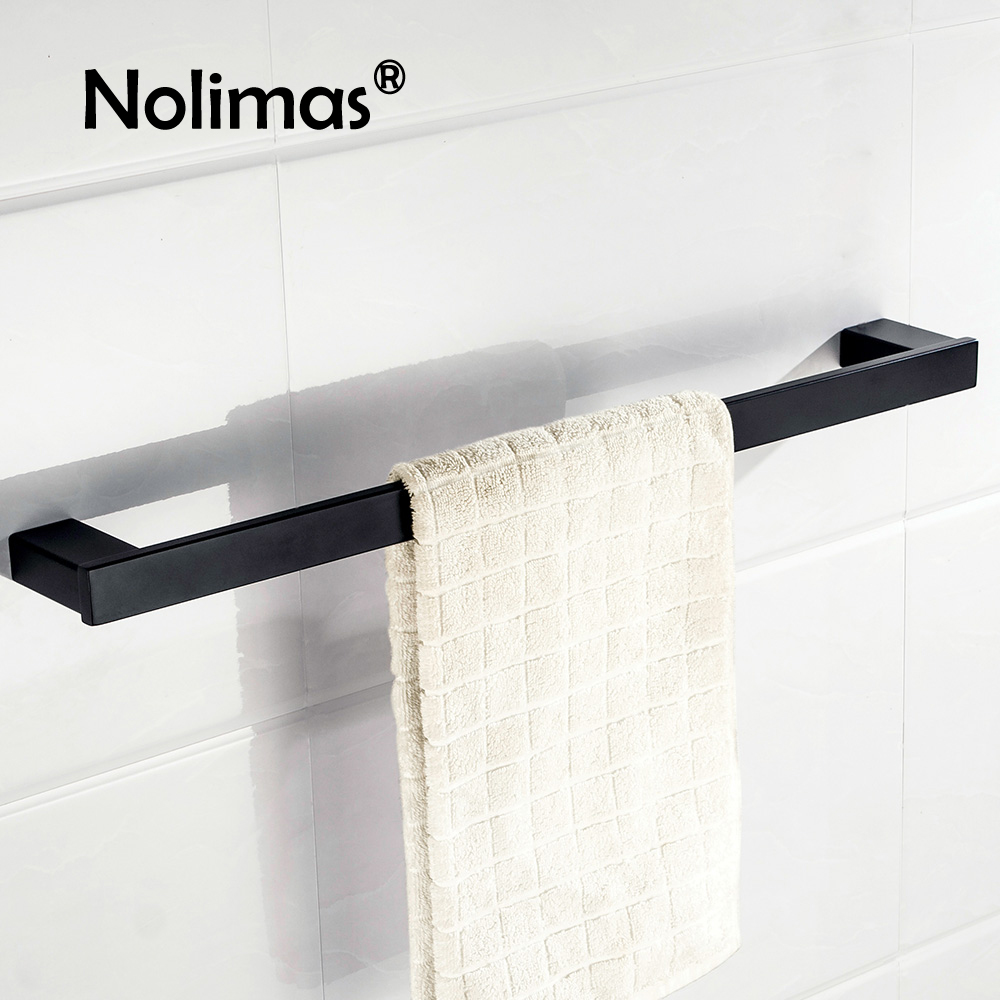 2017 Electroplated SUS 304 Stainless Steel Single Towel Bar Square Square Black Towel Rack Bathroom Wall Mounted Towel Holder 304 stainless steel bathroom towel rack bar hangers more
