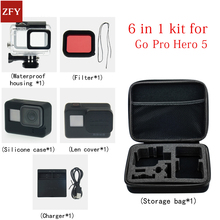 Gopro accessories set Gopro hero 5 waterproof protective case Silicone case Charger for gopro hero 5 filter for gopro HERO 5 set