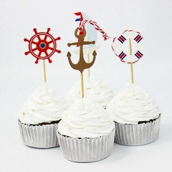 Heisser Verkaufer 24 Stucke Navy Segeln Anker Cupcake Topper Fur