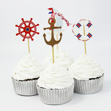 24pcs Navy Sailing Anchor Cupcake Topper For Boy Birthday Nautical Themed Party Baby Shower Kids Favor Cake Decoration(China)