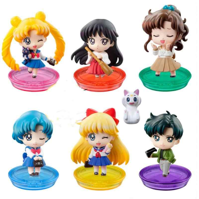 7pcs/lot cosplay Anime Sailor Moon Mars Jupiter Mercury School Life Ver PVC Action Figure Model Toys for kids gift