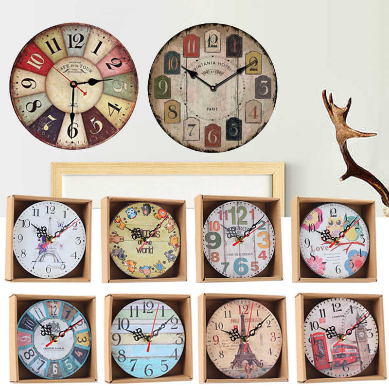 Home Garden Room Antique Decor Wall Clocks Decoration Clock Shabby Chic Kitchen@