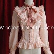 Изготовленные на заказ рубашки дамы розовый шифон Стенд воротник с длинными рукавами в мелкие складки блузка милая блузка Лолита кружева Лолита рубашка