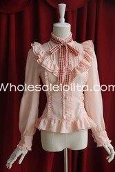 Изготовленные на заказ рубашки дамы розовый шифон Стенд воротник с длинными рукавами в мелкие складки блузка милая блузка Лолита кружева Л...