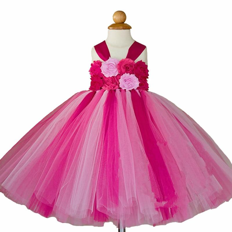 Fleur Filles Tutu Princesse Robe Cheville Longueur Coloré Boutique Moelleux Filles Robe De Bal Parti De Bal Robes 2-10Y - 3
