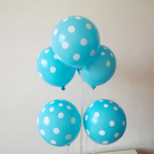 latex balloons 50pcs/lot 12inch 2.8g  blue white dot baloon wedding decorations anniversaire globos party birthday decoration