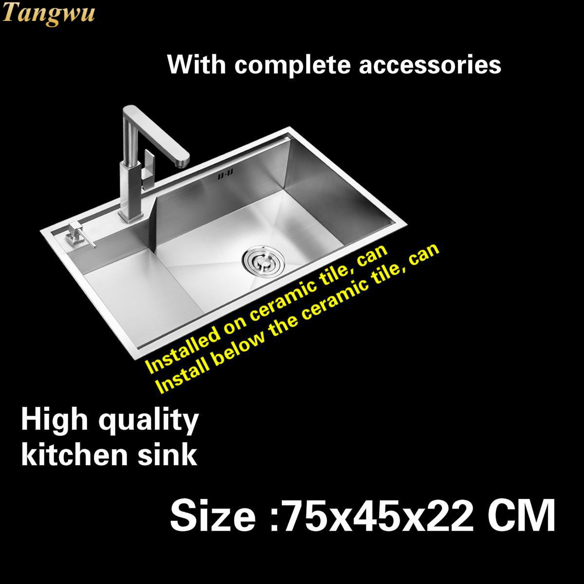 Tangwu High quality 4 mm thick food-grade 304 stainless steel kitchen sink durable handmade large single slot 75x45x22 CM free shipping food grade 304 stainless steel hot sell kitchen sink double trough 0 8 mm thick ordinary 78x43 cm