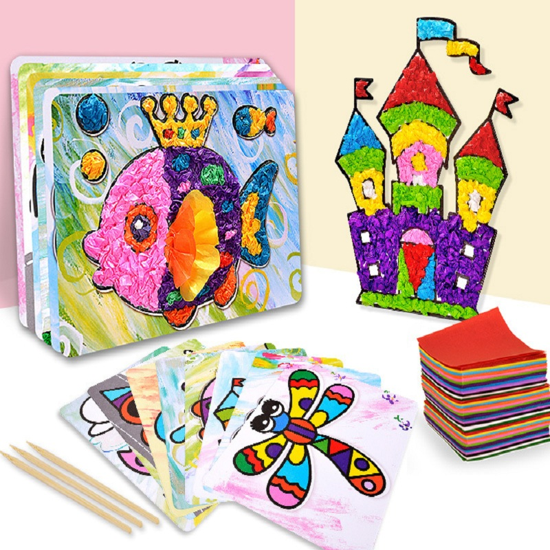 16 Designs Children Creative Paper Art Toys With 2100pcs Color Paper/kids Cartoon Paper Stickers For Art Craft Educational Toys