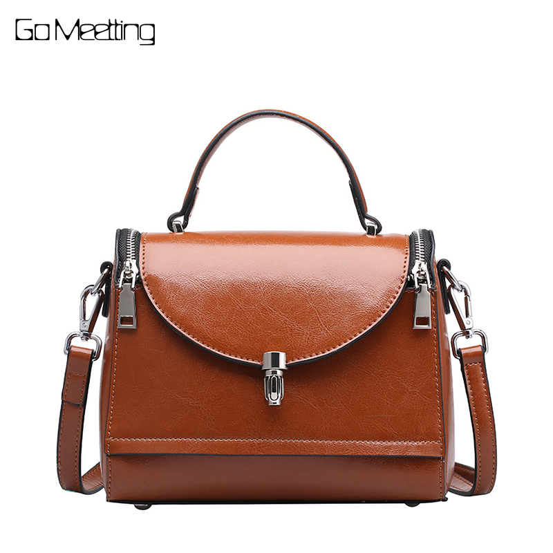 Go Meetting Genuine Cowhide Leather Women Shoulder Bags Vintage Casual Solid Small Handbags Oil Wax Leather Messenger Bags women genuine leather casual real cowhide tote bags vintage soft small trunk shoulder handbags solid tassels bolsa feminina