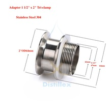 "Адаптер "" OD64mm x 1 1/2"". 304 из нержавеющей стали. Длина 50 мм"