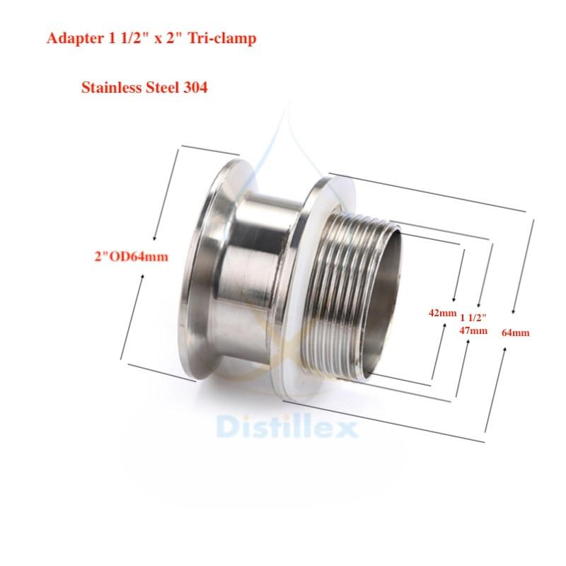 Adaptateur 2 OD64mm x 1 1/2. 304 acier inoxydable. Longueur 50mmAdaptateur 2 OD64mm x 1 1/2. 304 acier inoxydable. Longueur 50mm
