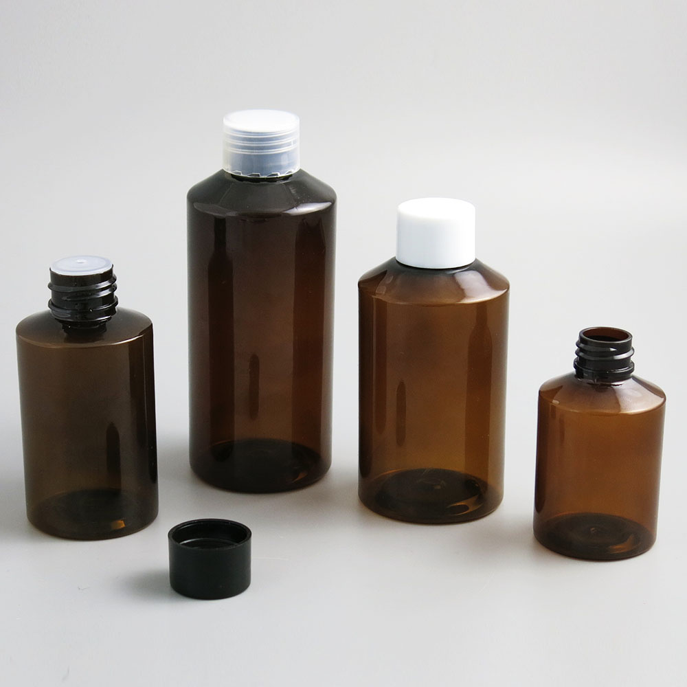30 X Empty Amber Green PET Bottle With Plastic Cap 50 100 150 200 Ml Cosmetic Container 5oz Big Cleanser Cream Liquid Bottle