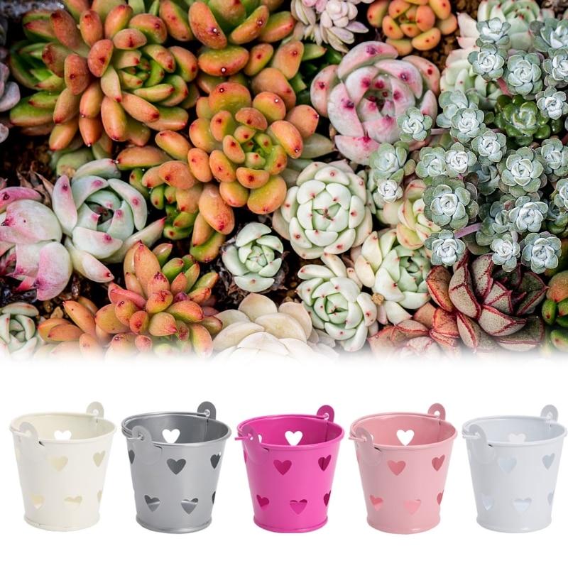 Mini Hollow Flower Pot Metal Barrel Plant Succulent Plant Pen Pencil Pot Makeup Brush Holder Container For Home Office Decor