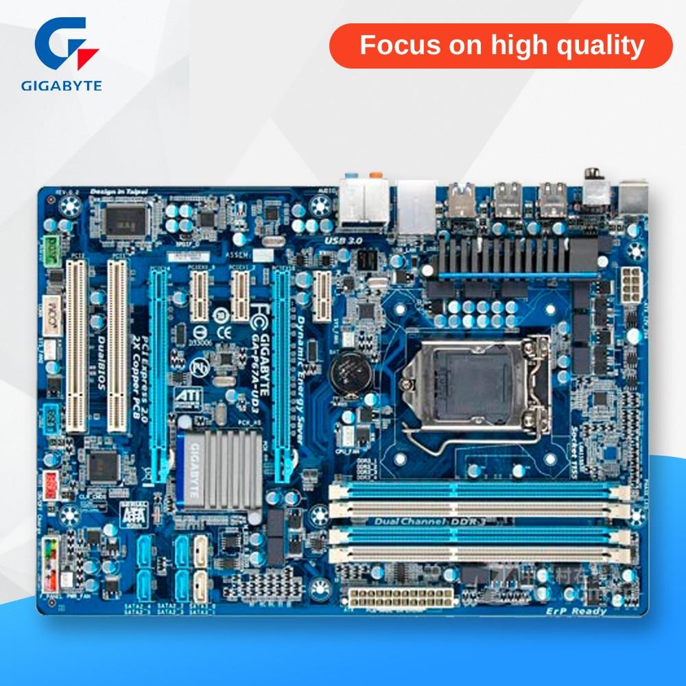 Gigabyte GA-P67A-UD3 Original Used Desktop Motherboard P67A-UD3 P67 LGA 1155 i3 i5 i7 DDR3 32G SATA3 ATX msi h77ma g43 original used desktop motherboard h77 socket lga 1155 i3 i5 i7 ddr3 32g sata3 micro atx