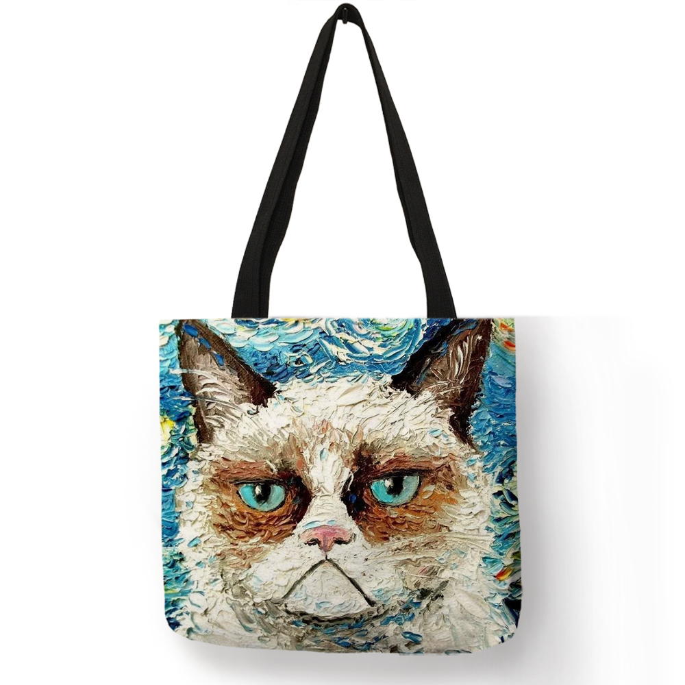 Customize Creative  Cat Tote Bags For Women Linen Bag Wish Print For Lady Shopping Bags Traveling Tote Pouch