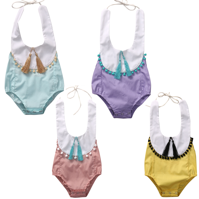 Cute Newborn Baby Girl Tassel Romper 2017 Summer Sleeveless Infant Bebes Backless Halter Sunsuit Toddler Kids Jumpsuit Clothes цена 2016