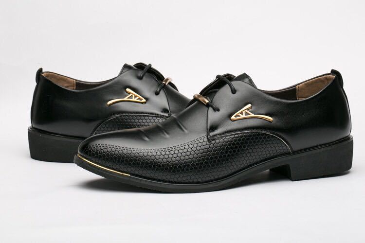 Big Size 38-48 Spring Autumn Man Dress Shoes Leather Pointed Toe Italy Breathable Business Wedding Oxford Formal Shoes for Meal (14)