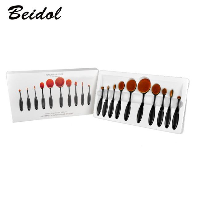 10 Lote 10 pçs/set Escova de Dente Forma Oval Maquiagem Jogo de Escova Multiuso Pincel de Maquiagem Kits de Escova Da Sombra Em Pó Blush Foundation