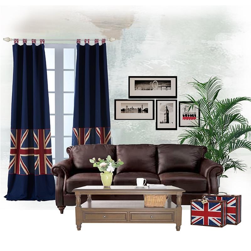 Cartoon Linen Cotton Boy Bedroom Curtains Embroidery: Cartoon Union Jack Design Shading Curtain Blackout