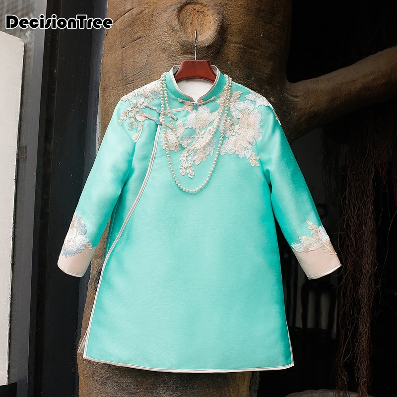 2019 Female Patchwork Plus Basic National Trend Embroidered Top Long Sleeve Chinese Style Embroidery Green Tang Shirt
