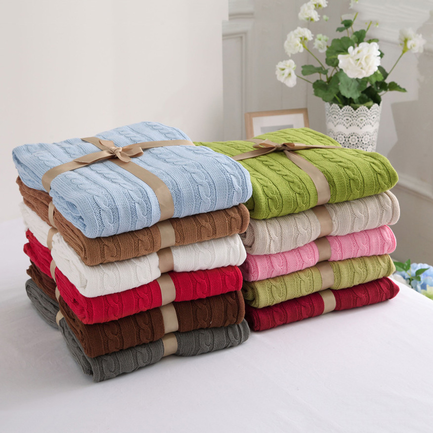 CHAUSUB Quality 100% Cotton Knitted Blankets Home Bed Sofa Knit Blanket Pink Beige Blue Red Gray Europe Leisure Throw Blanket  цены