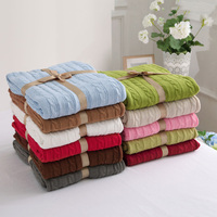 Chausub qualidade 100% algodão de malha cobertores casa cama sofá cobertor malha rosa bege azul vermelho cinza europa lazer jogar cobertor