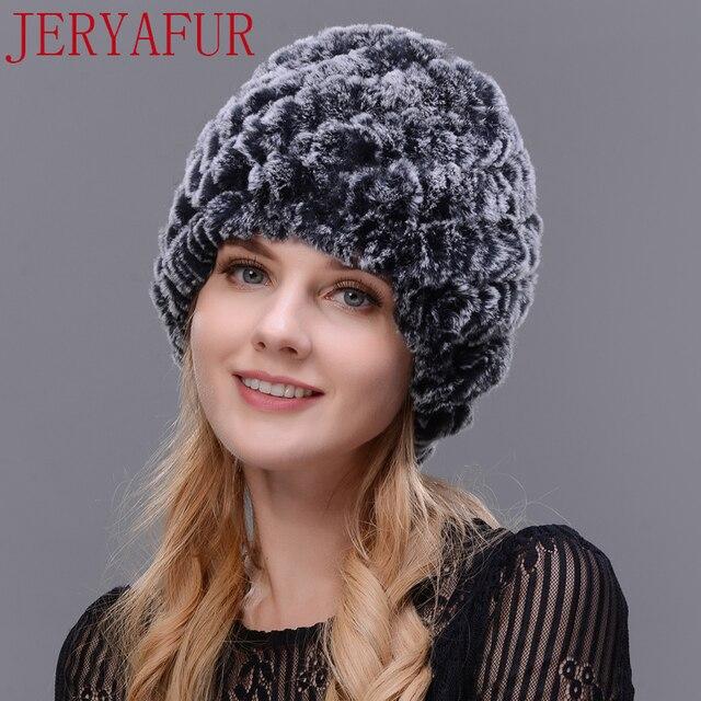 Jeryafur человек женщина натуральный мех шляпа Рог кроличий мех ручной работы меху шапка женская зимняя Лыжная Шапка Кепка Бесплатная доставка