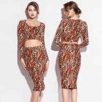 Slim Fit 2016 Leopard Print Stretch Cotton Sexy Women Two Pieces Tight Dress S.M.L.XL