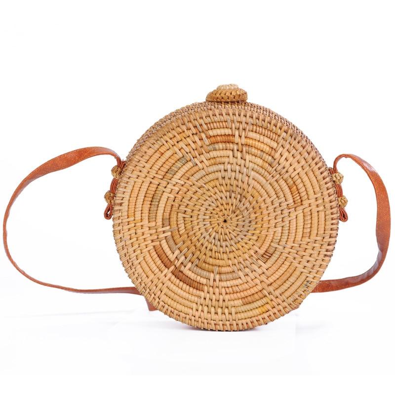 Dropshipping 2018 Summer Women Hand Woven Round Rattan Straw Bag Circular Handbag Crossbody Shoulder Bags Bohemian Beach Bag