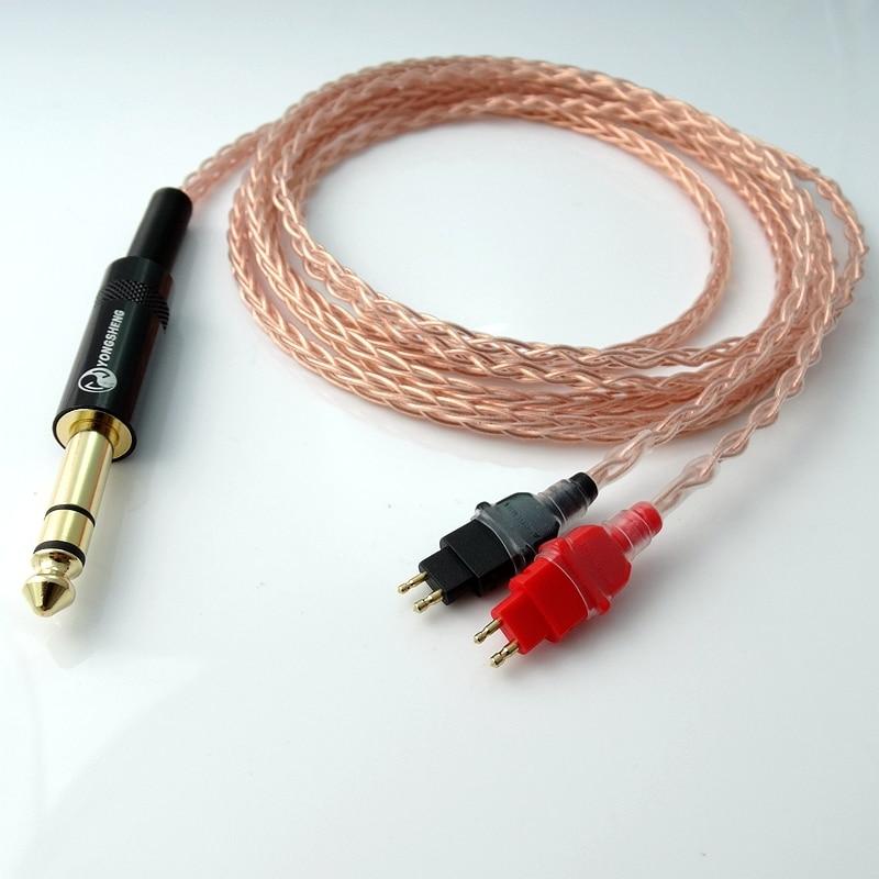 2,5m 1/4 6.35mm DIY Hi-end 8 südamikuga 5n Pcocc vask kõrvaklappide - Kaasaskantav audio ja video - Foto 5