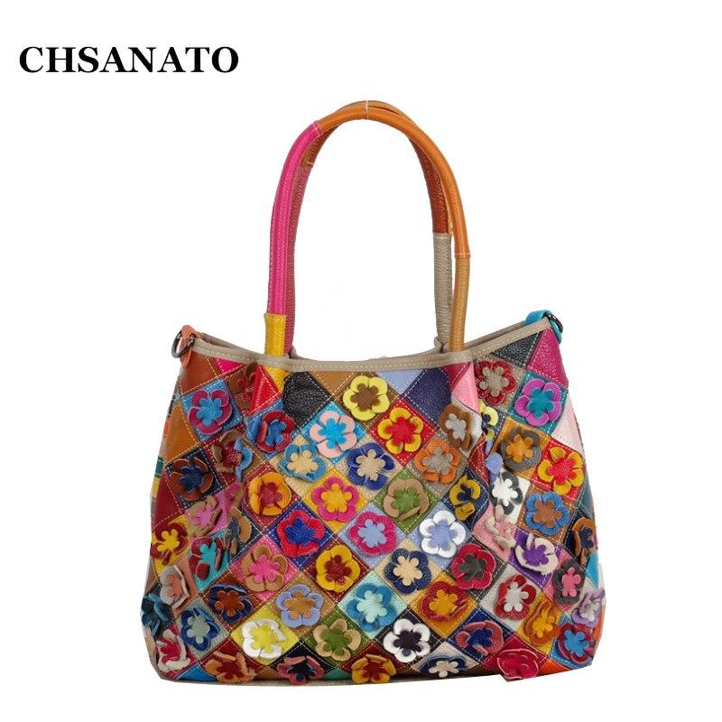 CHSANATO Unique Genuine Leather Women Handbag Fashion Flowers Women Crossbody Bag Colorful Cow leather Patchwork Shoulder Bags