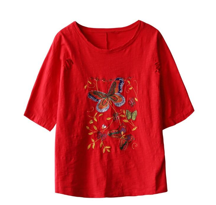 2019 Plus size womens t shirt tops spring summer butterfly Embroidery loose casual t shirts 5
