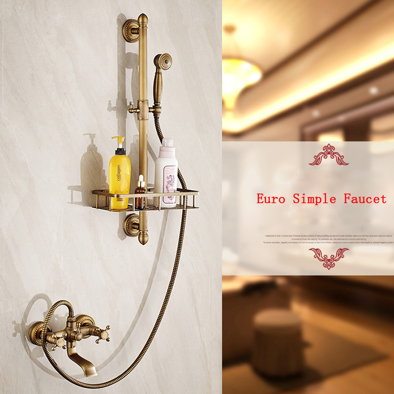 Wall Mounted Bath and Shower Faucet Set Antique Brass with Sliding Bar Bathroom Storage Basket Mixer Taps wall mount single handle bath shower faucet with handshower antique brass bathroom shower mixer tap