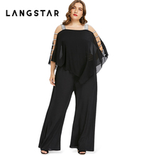 7bcad3df3ca Plus Size 5XL Ladder Cut Out Overlay Jumpsuit Women Square Neck  Asymmetrical Loose Fitting Romper Summer